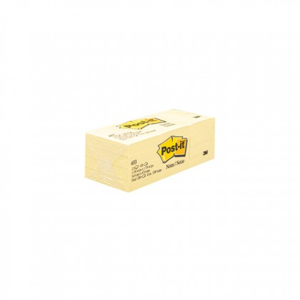 """3M POST-IT Sticky Notes Yellow 1.5"""" x 2.0"""" x 100'S"""